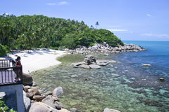 热带白色沙子海滩lamai ko samui泰国 库存照片
