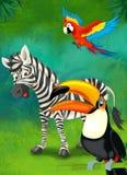 热带的动画片或徒步旅行队-孩子的例证 免版税库存照片