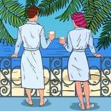 热带的天堂 愉快的在海滩旅馆阳台的夫妇饮用的咖啡  流行艺术例证 库存照片