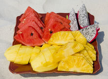 热带的水果沙拉 免版税库存照片