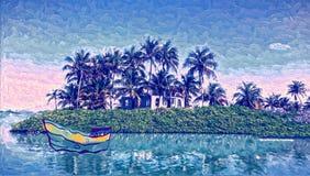 热带的海岛 森林横向油画河 免版税库存照片