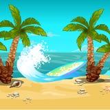 热带的海滩 冲浪板 传染媒介动画片特写镜头例证 向量例证