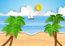 热带的海滩 向量例证