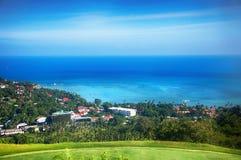 热带盐水湖的鸟瞰图 免版税库存照片