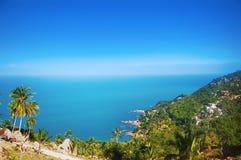 热带盐水湖的鸟瞰图 库存图片