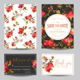 热带石榴、花和叶子 背景看板卡图画邀请向量婚礼白色 向量例证