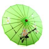 热带绿色的遮阳伞 免版税库存照片