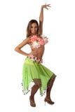 热带美丽的服装的舞蹈演员 免版税库存照片