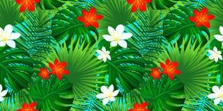 热带花卉无缝的样式 模板开花纹理 与棕榈叶的异乎寻常的背景, monstera叶子,密林 向量例证