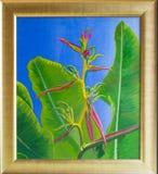 热带花原始的丙烯酸酯的绘画  免版税图库摄影
