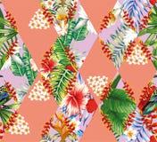 热带花和叶子补缀品  库存例证