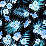 热带花和密林棕榈 向量例证