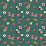 热带花和蝴蝶无缝的样式 织品和纺织品的花卉密林背景 向量例证