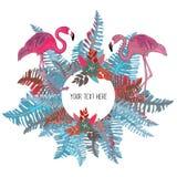 热带蓝色和桃红色叶子和花盘旋与两群火鸟 库存例证