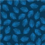 热带蓝色棕榈树在一个无缝的样式离开 库存照片