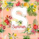 热带设计用异乎寻常的果子 夏天构成用菠萝、香蕉和棕榈叶织品的,海报,盖子 库存图片