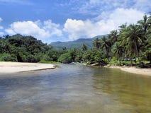 热带风景。美丽的河和沙洲。 库存图片