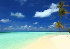 热带风景惊人的秀丽视图  与棕榈树的白色沙子海滩,在蓝天的绿松石水与华美的白色云彩 免版税库存图片