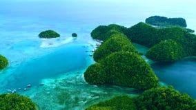 热带风景雨林小山和天蓝色的水在有云彩的盐水湖在锡亚高岛海岛,菲律宾上 r 股票录像