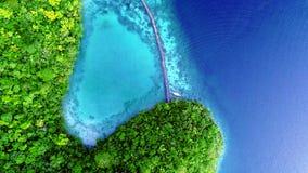 热带风景雨林小山和天蓝色的水在有云彩的盐水湖在锡亚高岛海岛,菲律宾上 r 影视素材