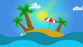 热带风景-海滩,海,波浪,棕榈的动画 库存例证
