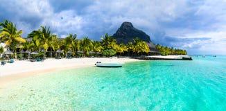 热带风景-美丽的海滩毛里求斯海岛, Le Mor 免版税库存图片