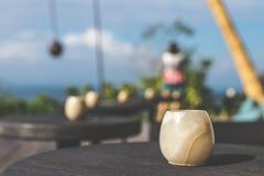 热带餐馆有海视图 晴朗的日 文本的空间 巴厘岛 免版税图库摄影