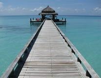 热带马尔代夫的码头 免版税库存照片