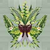 热带鸟和叶子 库存例证