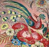 热带鸟用果子和花 库存图片
