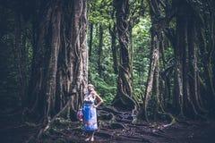 热带巴厘语风景背景的妇女,在巴厘岛北部,印度尼西亚 常设近的榕属树 库存照片