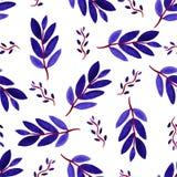 热带水彩离开无缝的样式 与手油漆紫罗兰分支的传染媒介纹理 库存图片