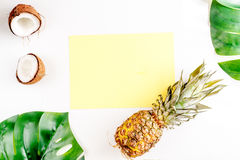 热带水果为夏天在白色背景顶视图大模型设计 免版税图库摄影
