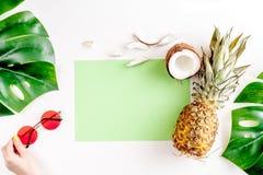热带水果和玻璃为夏天在白色背景顶视图大模型设计 图库摄影