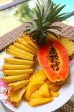 热带水果菠萝,芒果, corambola,番木瓜 免版税库存照片