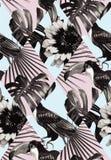 热带黑白补缀品无缝的背景 免版税库存照片