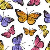 热带蝴蝶无缝的样式 库存例证