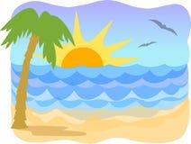 热带ai的海滩 库存例证