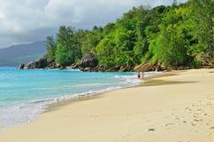 热带anse海滩海岛mahe含沙塞舌尔群岛的soleil 库存照片