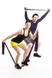 在锻炼期间的愉快的athlets 库存图片