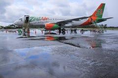 热心航空班机kalibo机场菲律宾 免版税库存照片