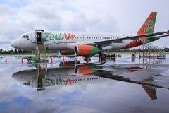 热心航空班机kalibo机场菲律宾 库存照片
