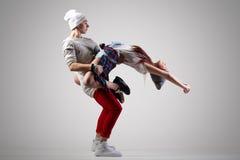 热情的夫妇跳舞 库存图片