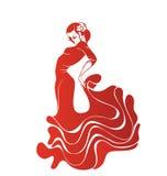 年轻热情的妇女跳舞佛拉明柯舞曲 免版税库存照片