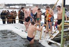 热游泳者冬天 免版税库存照片