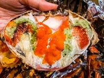 热煮沸的螃蟹新鲜和-可口开胃菜蒸了螃蟹和螃蟹` s产生物在铝芯泰国海鲜,被蒸的螃蟹showin 图库摄影