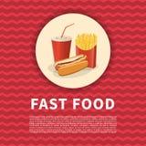 热狗、炸薯条和苏打托起海报 逗人喜爱的动画片快餐的色的图片 菜单设计元素 向量 库存例证