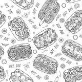 热狗和在无缝的不尽的样式上写字 许多成份 餐馆或咖啡馆菜单背景 街道快餐汇集 库存图片