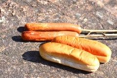 热狗和面包 免版税库存图片