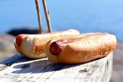 热狗和面包 免版税库存照片